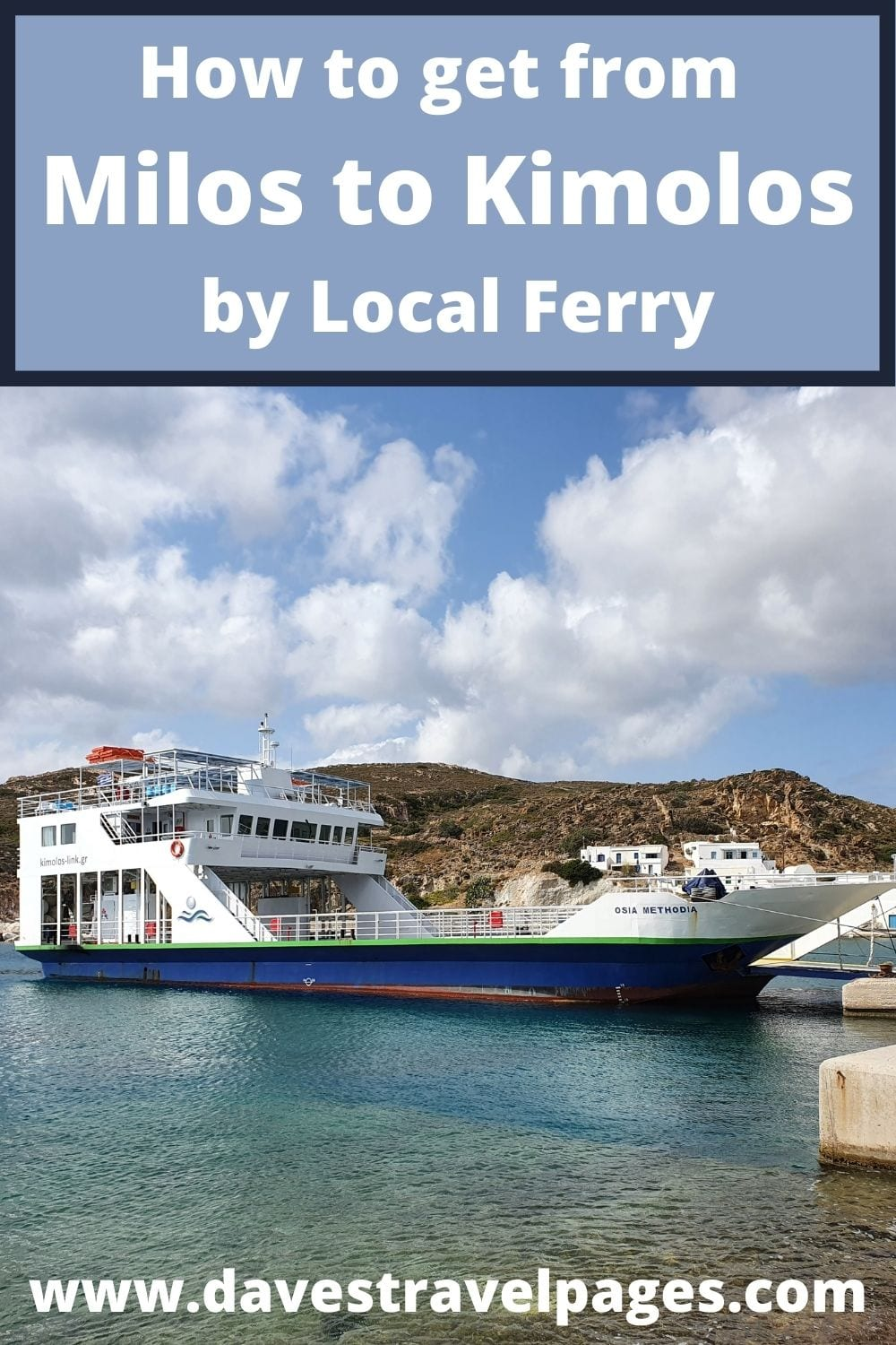 How to travel from Milos to Kimolos on the local ferry in Greece