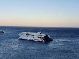 The Caldera Vista catamaran sailing from Sikinos to Folegandros