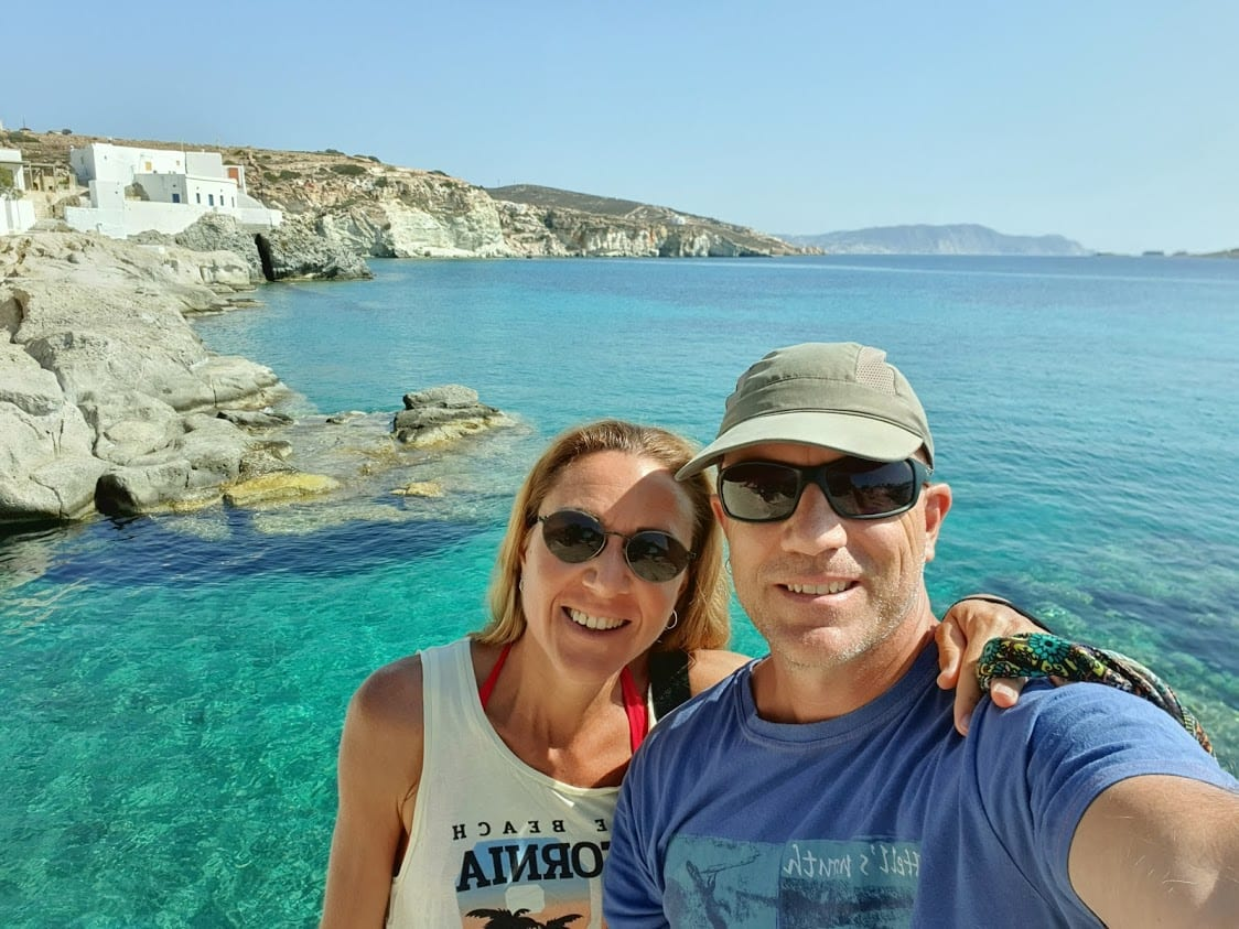 Dave and Vanessa from Dave's Travel Pages in Kimolos, Greece