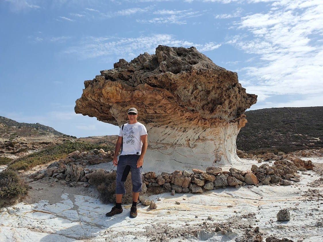 Dave Briggs at Skiadi rock in Kimolos island Greece