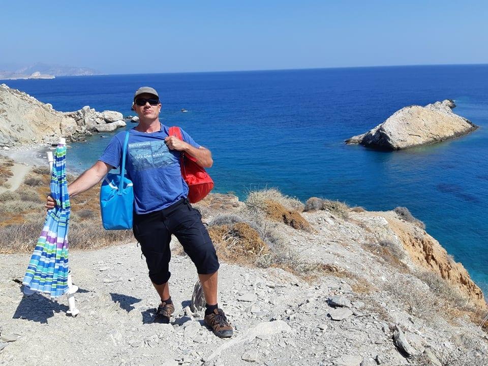 Dave striking an epic pose at Katergo beach in folegandros
