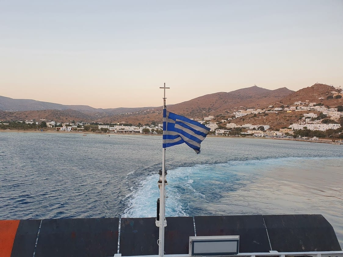 The ferry crossing from Ios to Sikinos in Greece