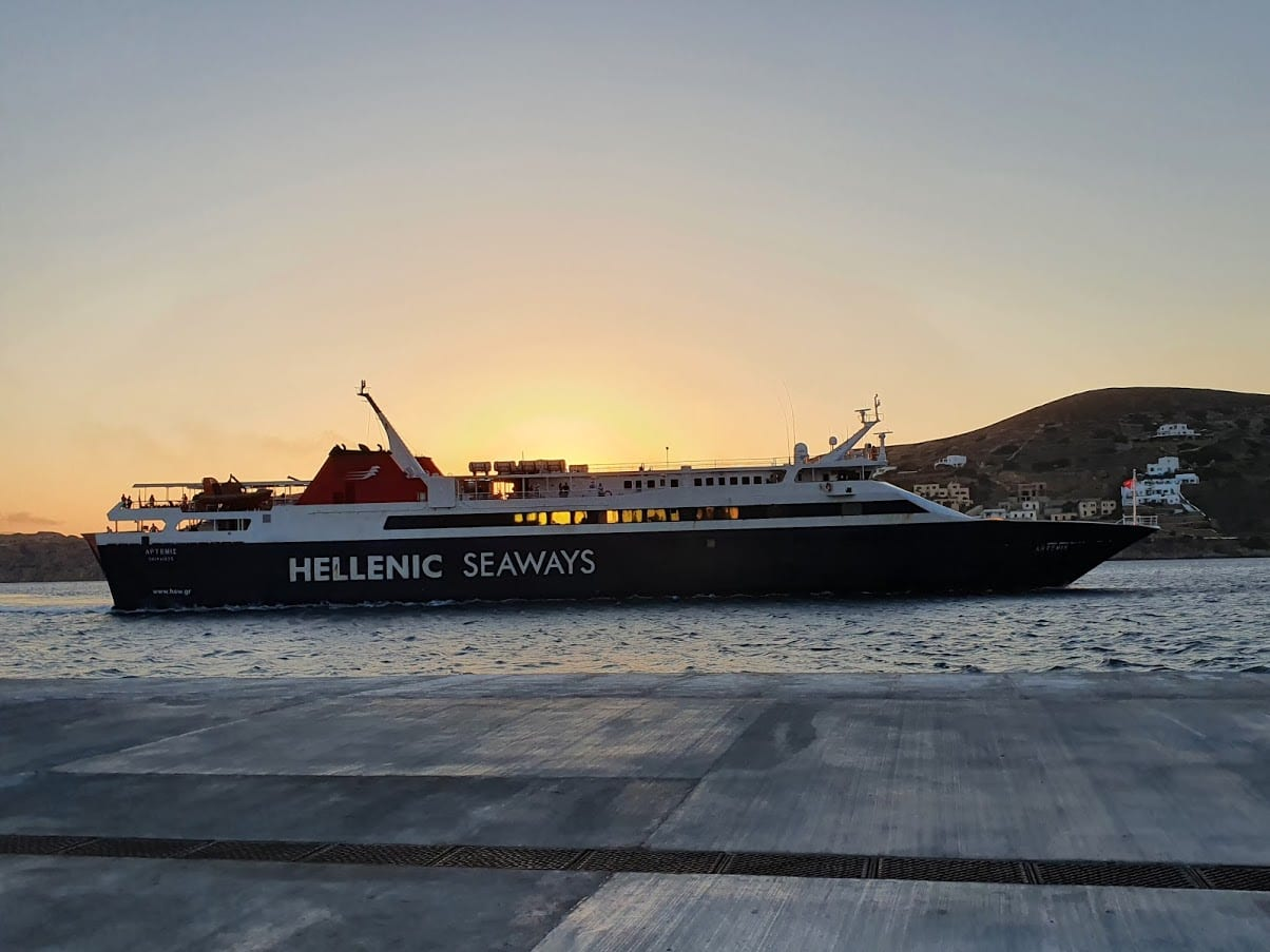 Taking the ferry from Ios to Sikinos in Greece