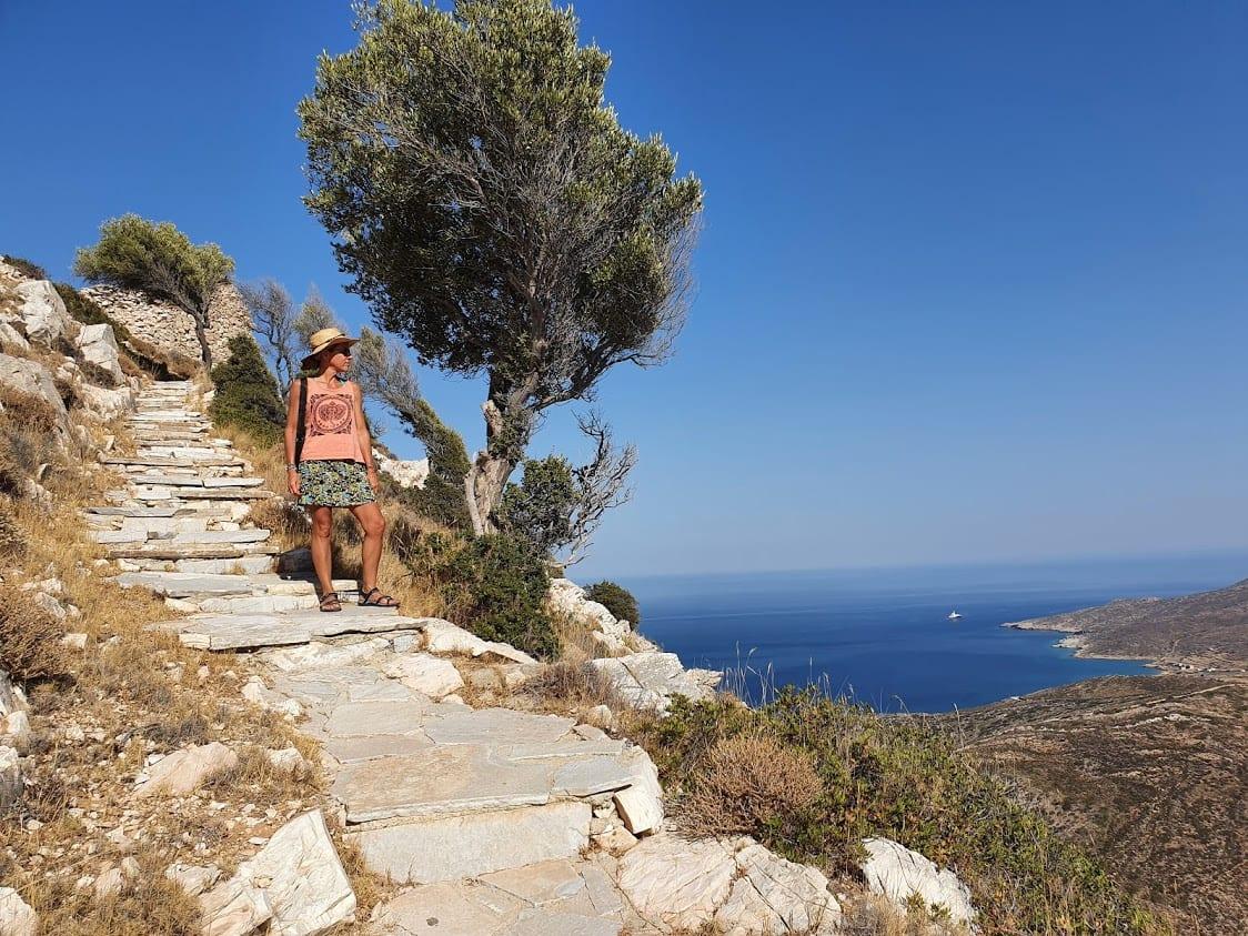 Hiking to Paleokastro on the island of Ios