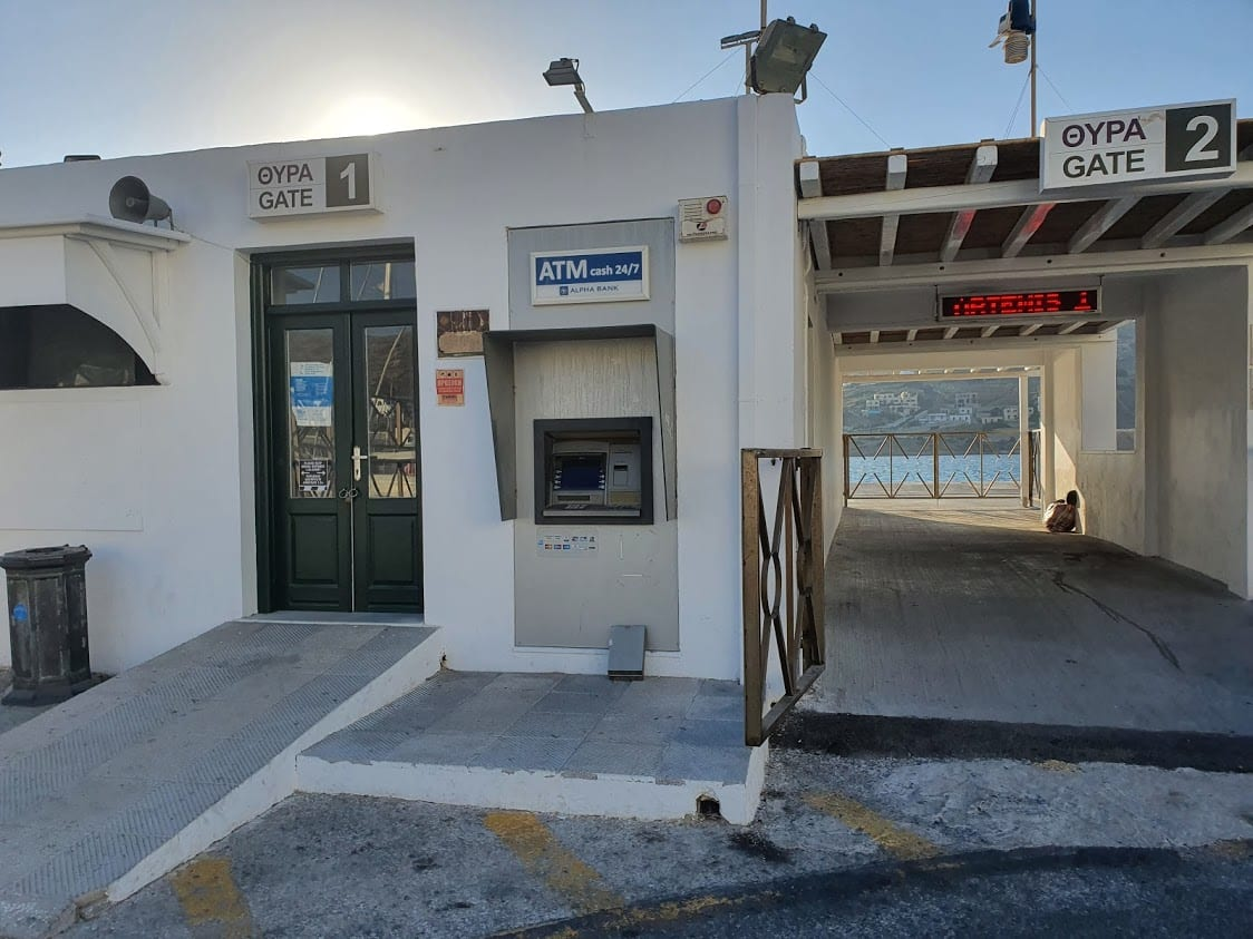 The gate at Ios ferry port in Greece