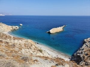 Looking down on to Katergo Beach in Folegandros Greece