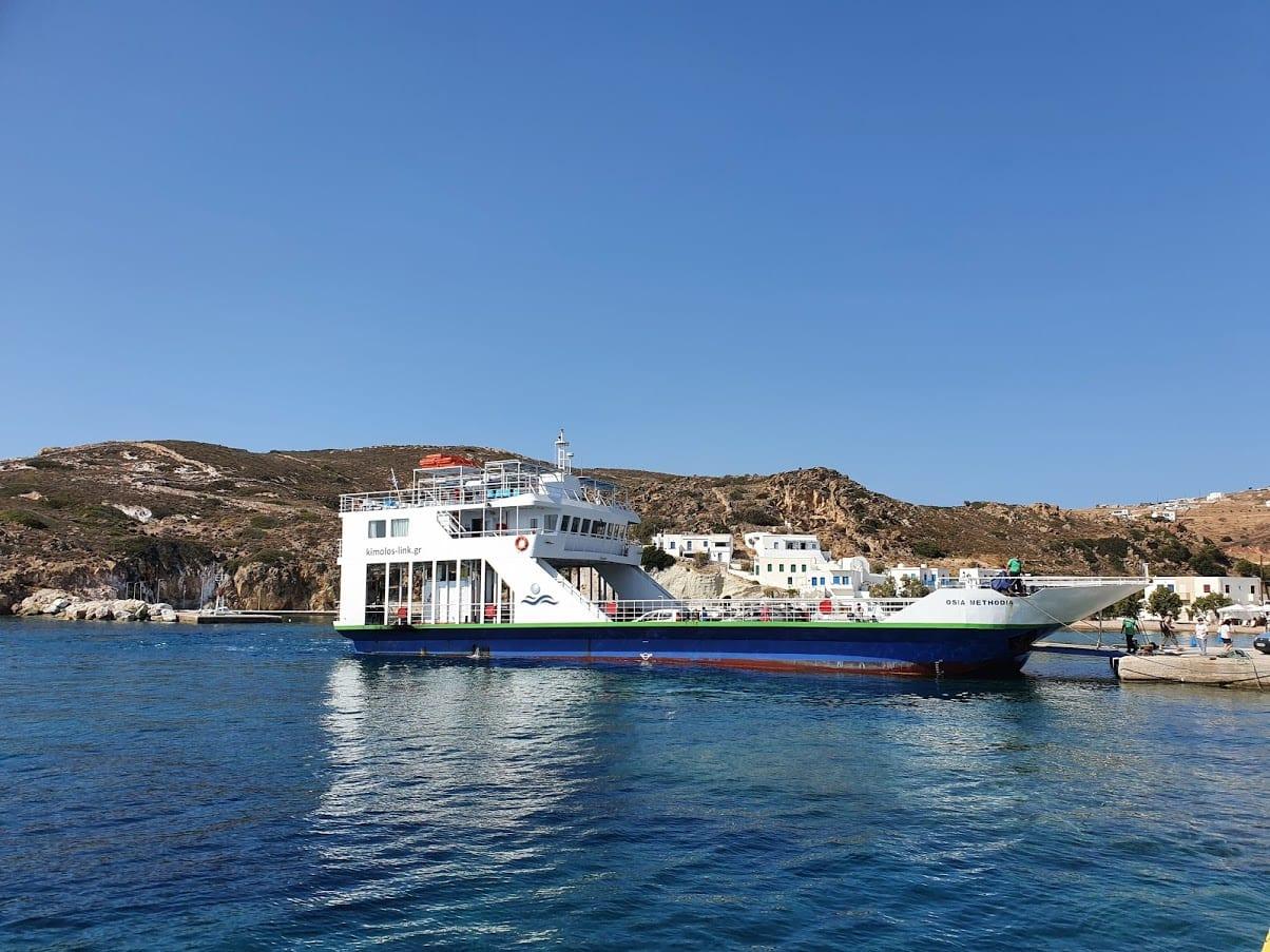The local Milos to Kimolos ferry docked in Psathi, Kimolos