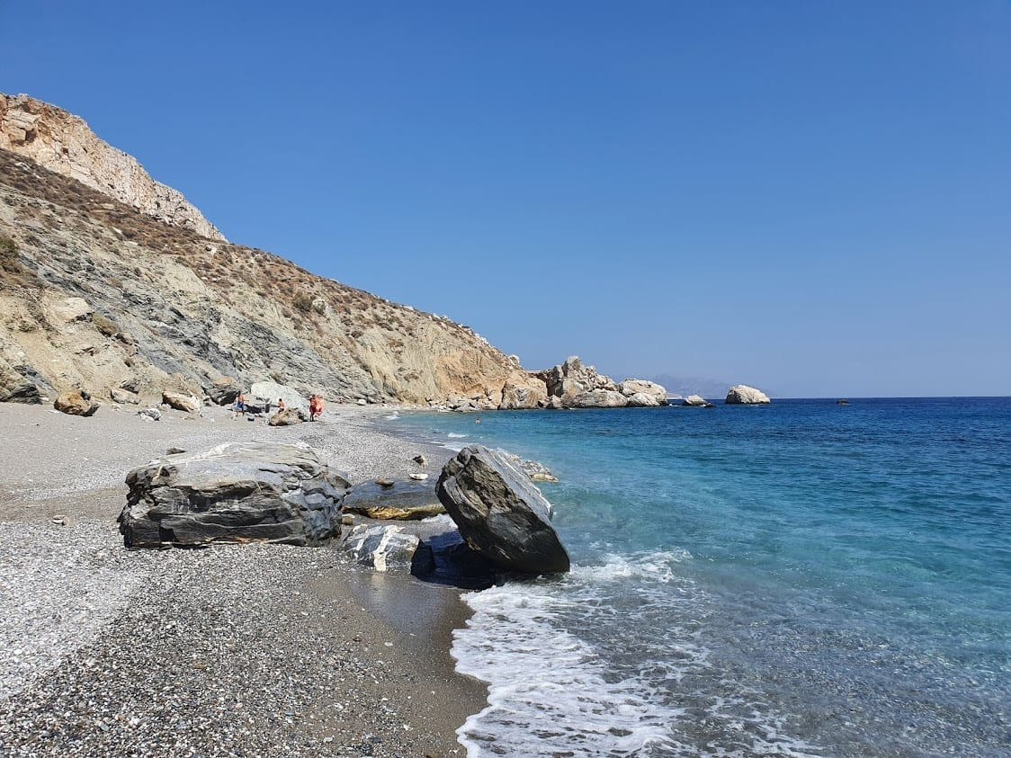 Looking along the coast of katergo beach