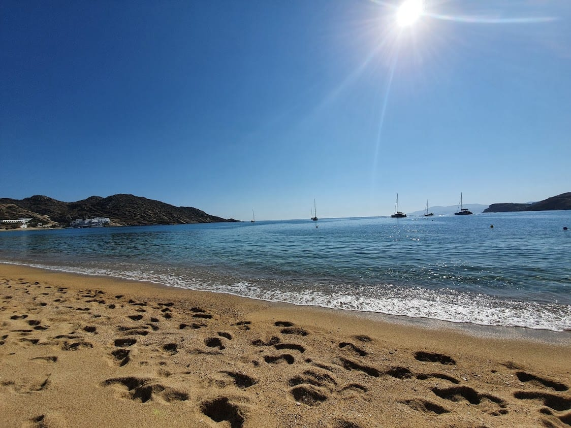 The famous Milopotas beach in Ios Greece