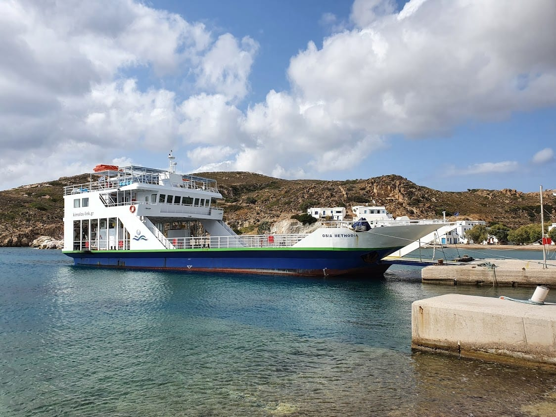 Taking the Osia Methodia Milos to Kimolos local ferry