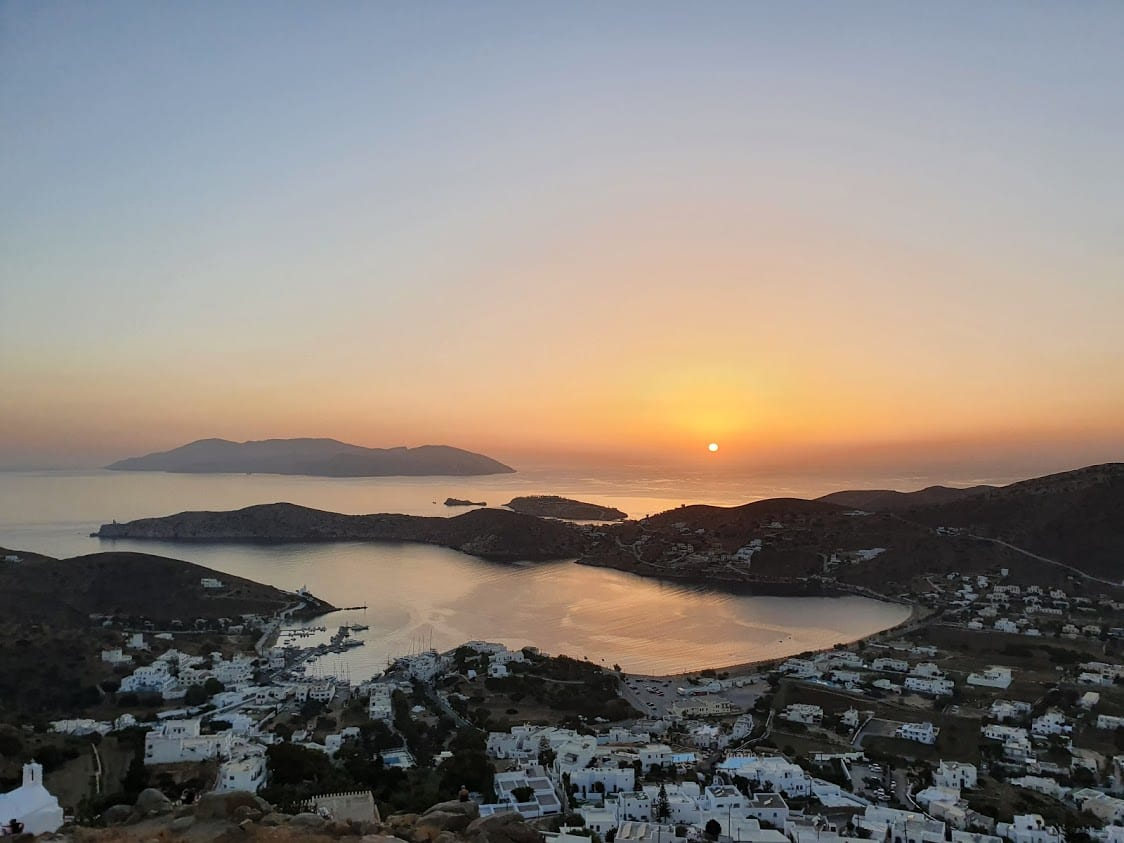 Watching the sunset from Panagia Gremiotissa in Ios, Greece