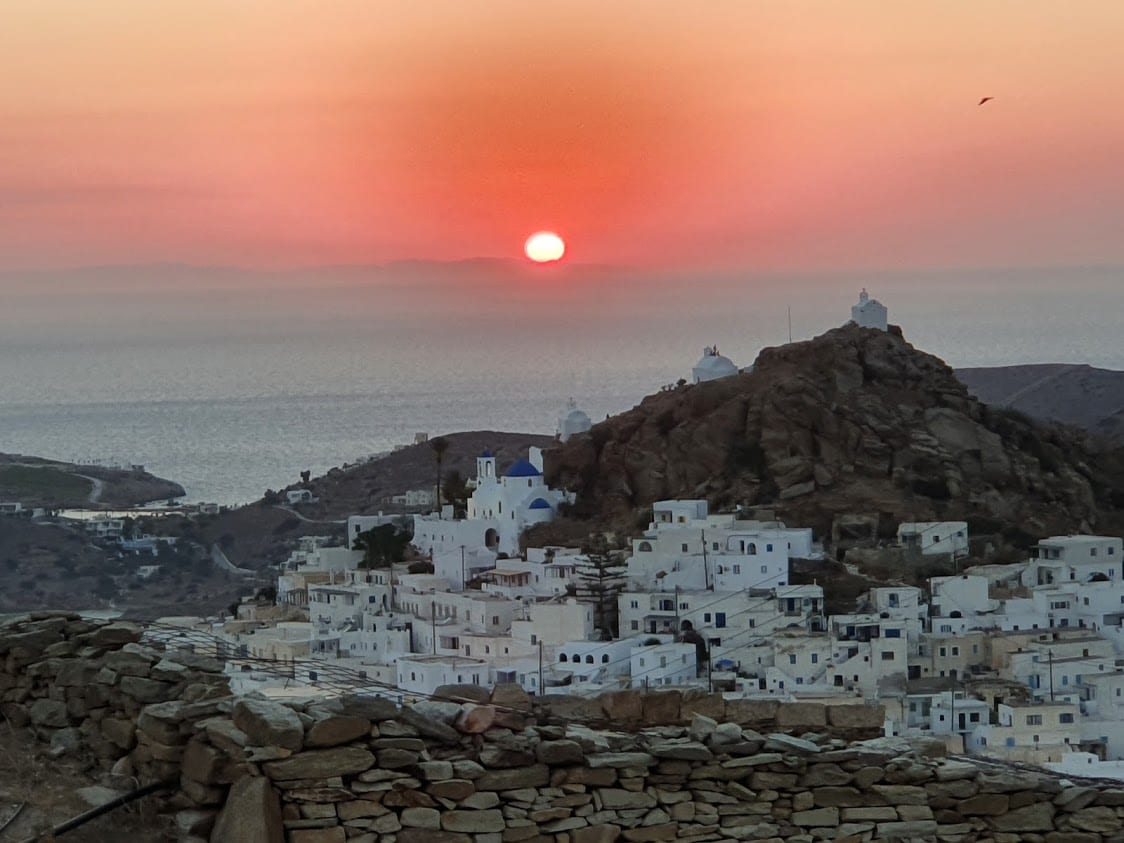 The sunset over Chora in Ios, Greece