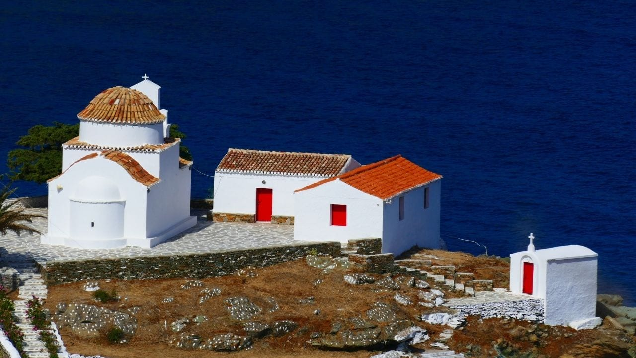 A remote church in Kythnos island Greece