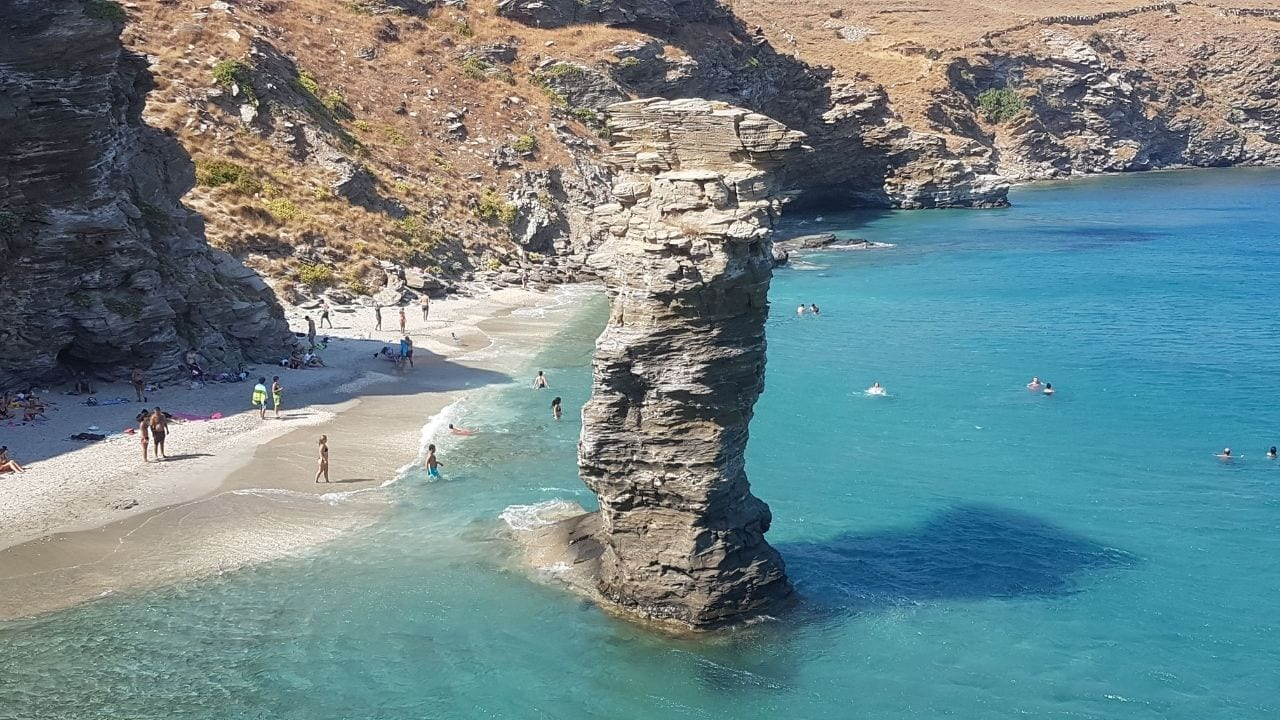 Old Lady's Jump Beach in Andros Island in the Cyclades, Greece