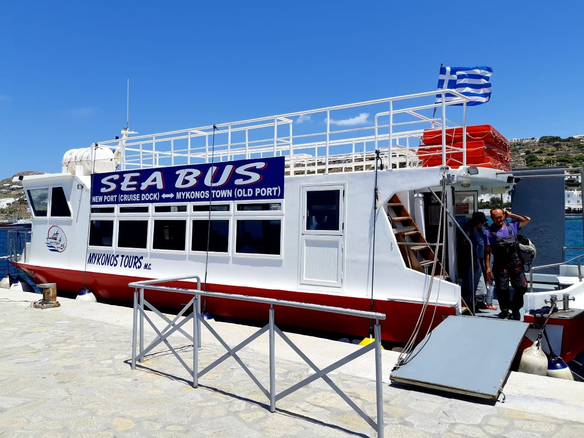 Taking the Sea Bus from Mykonos to Delos in Greece
