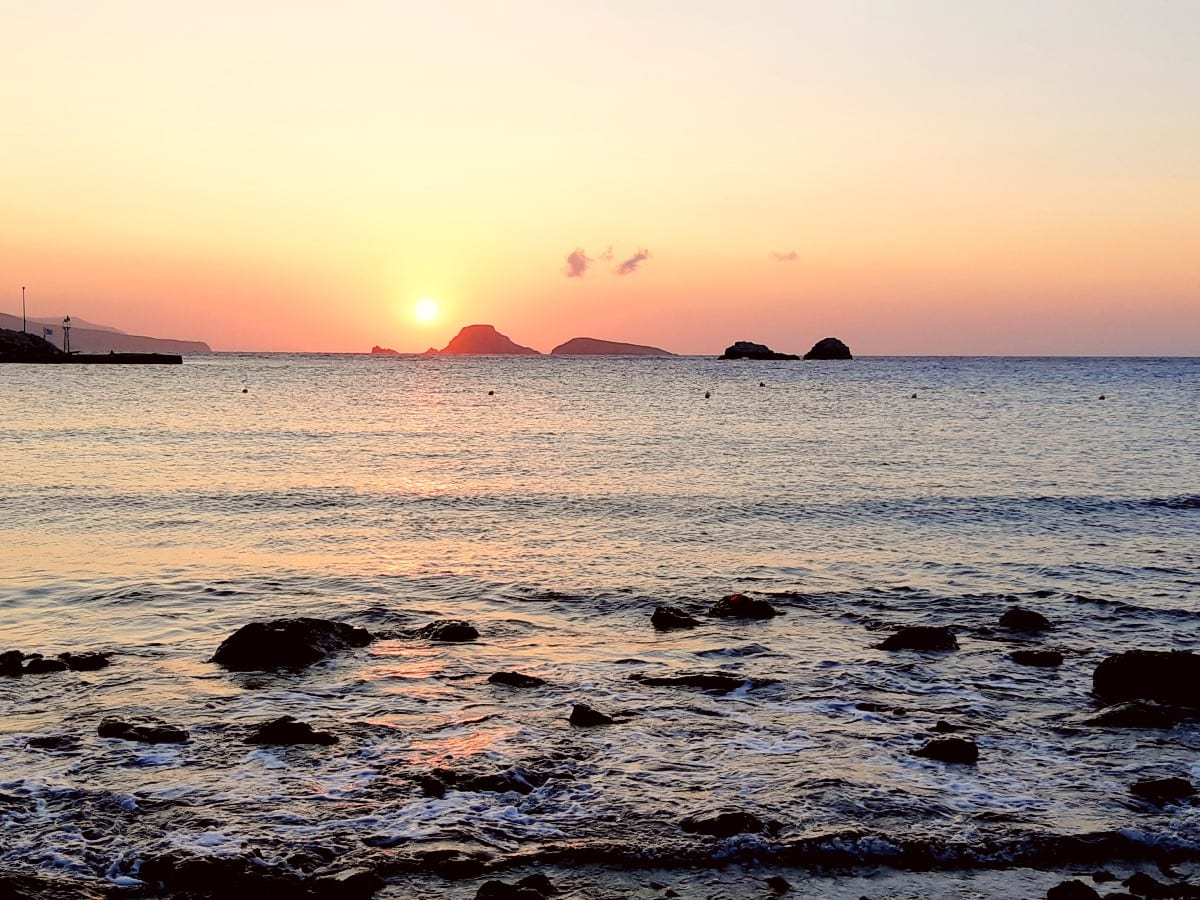 Sunrise over Karavostasis beach in Folegandros Greece