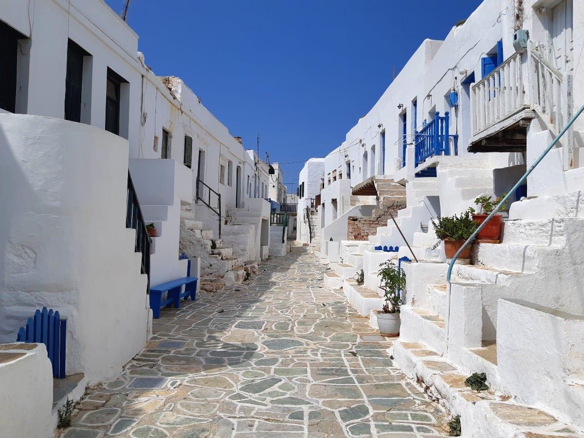 Whitewashed houses inside the Folegandros Chora