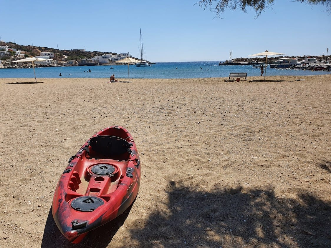 A kayak on one of the beaches on Sikinos island, Greece
