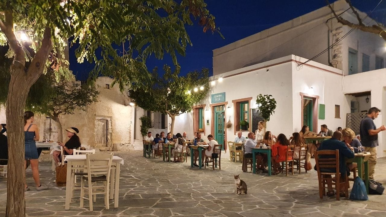 A night scene in Folegandros island
