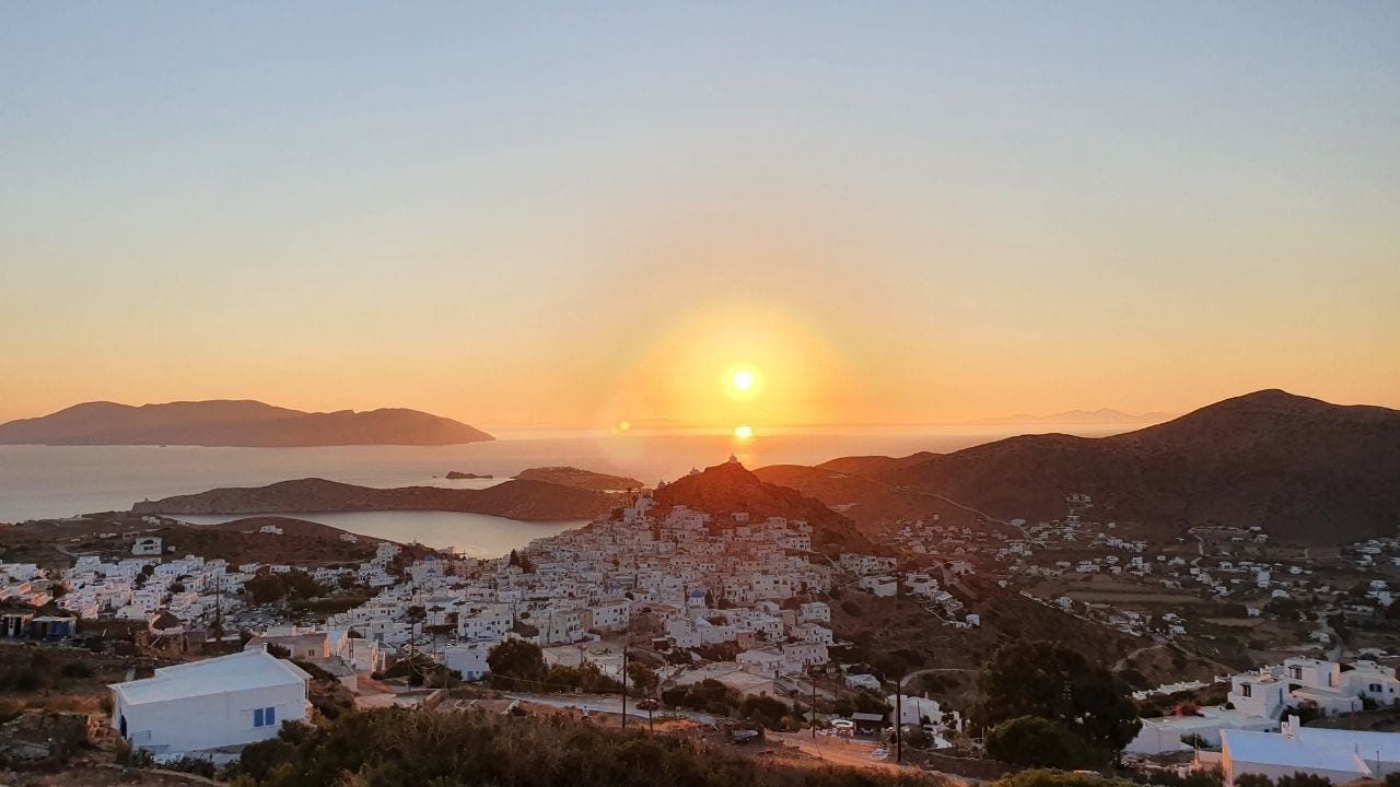 An amazing sunset over the Cyclades island of Ios in Greece