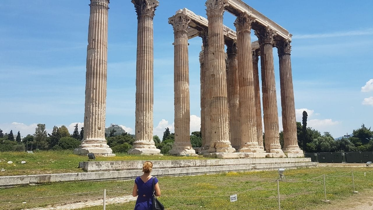 The Temple of the Olympian Zeus is one of the most famous ancient Greek landmarks in Athens