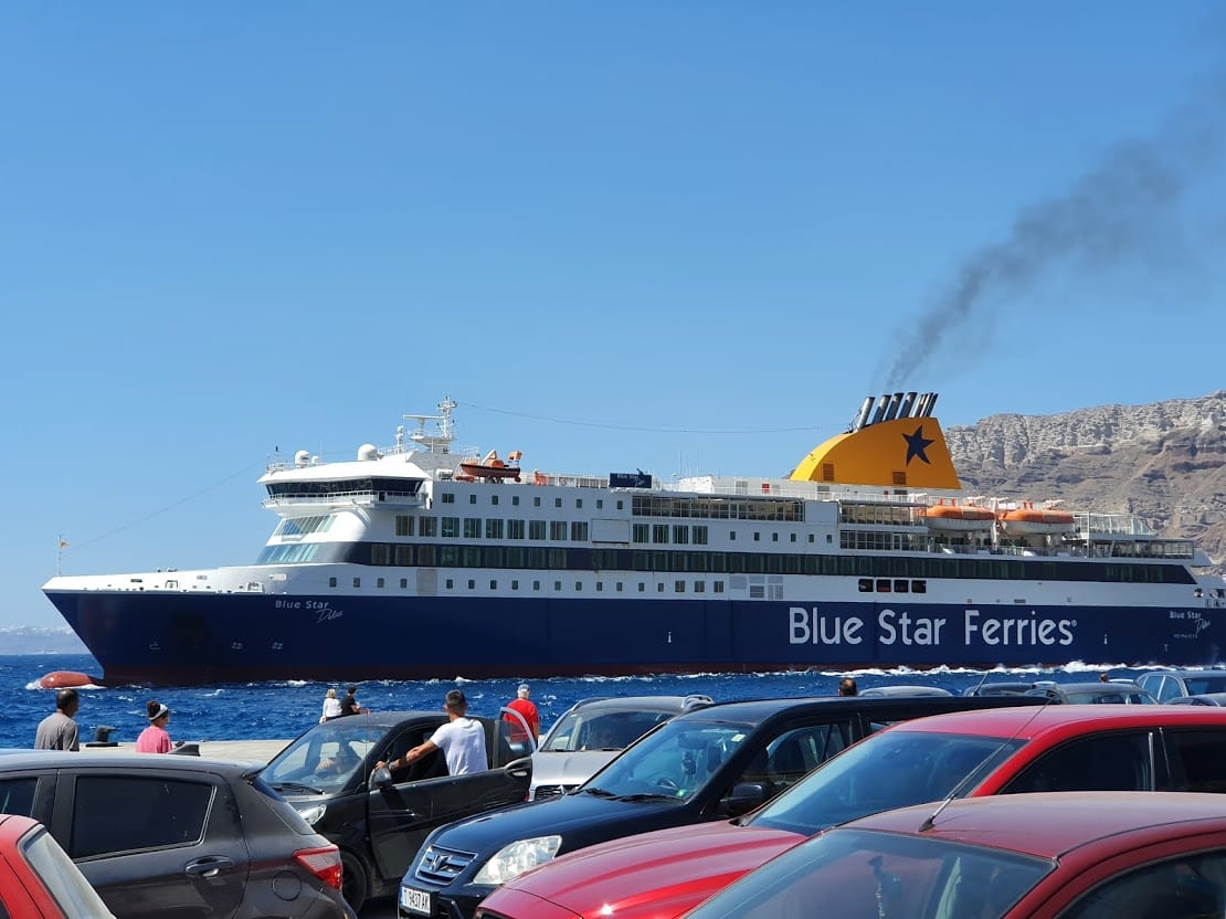 Blue Star ferry at the port in Santorini