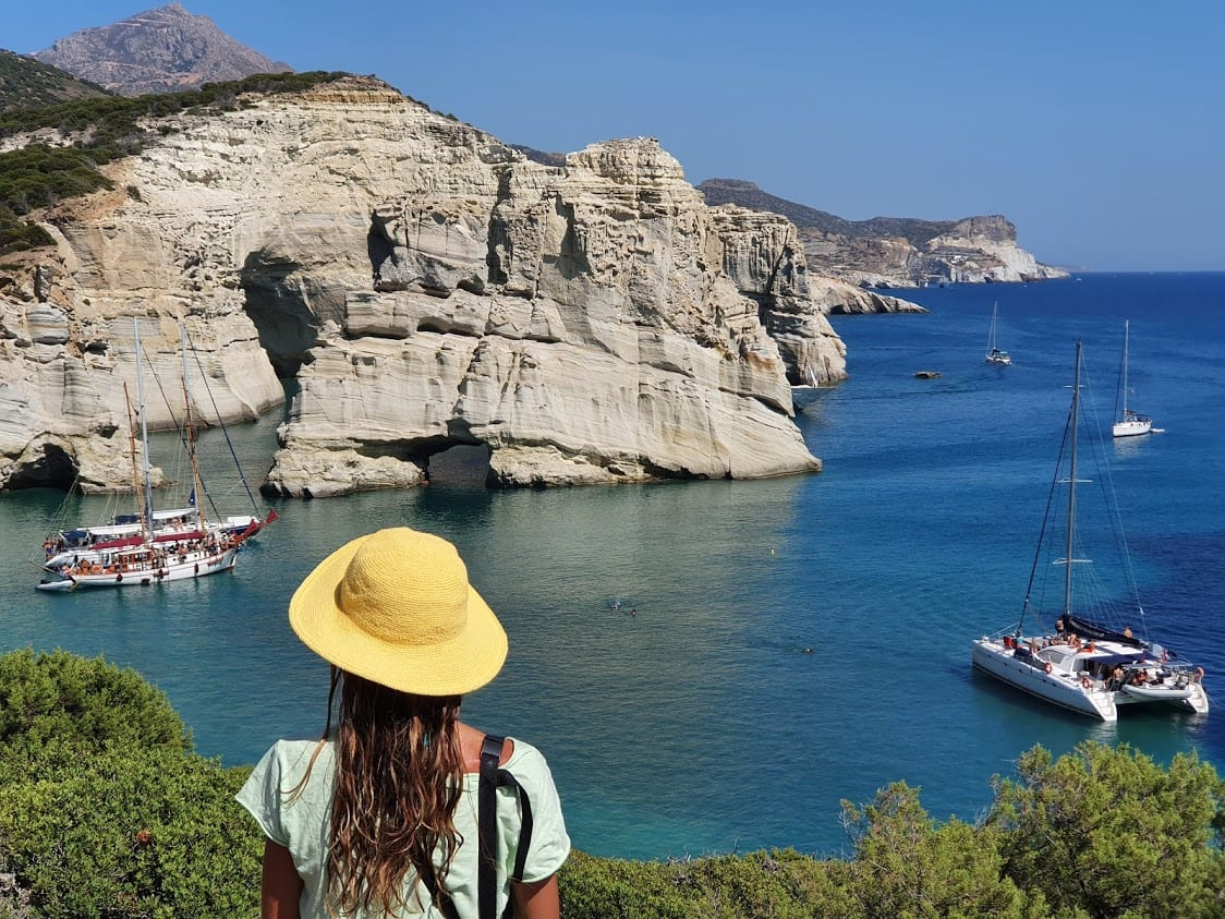 Looking at some of the boat trips arriving in Kleftiko Bay on Milos island in Greece