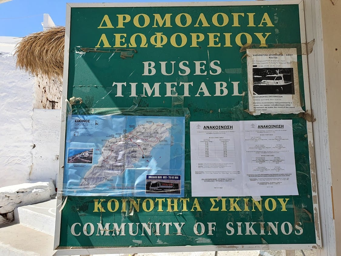 Bus timetable for Sikinos in Greece