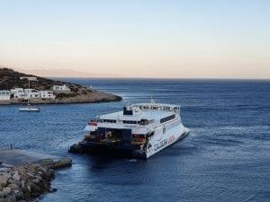 The Cadera Vista ferry in Sikinos Greece