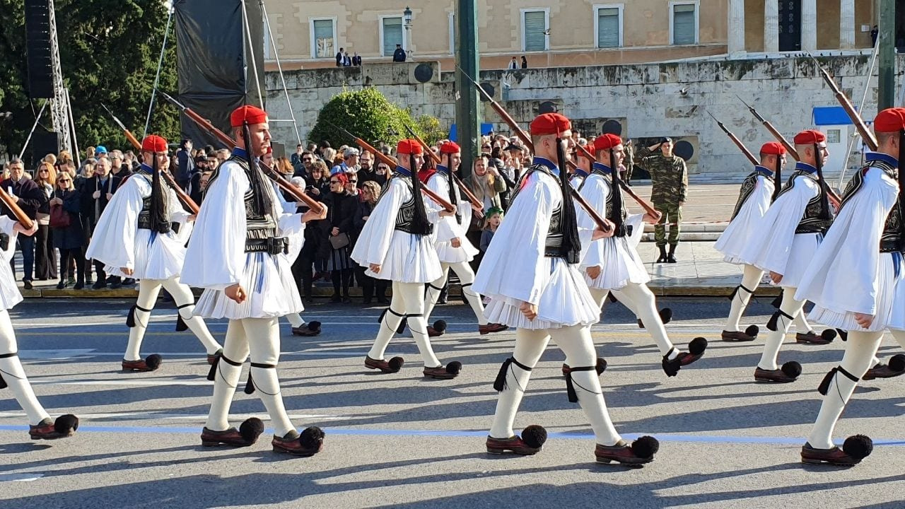 The Changing of the Guard in front of the Tomb of the Unknown Soldier in Athens Greece