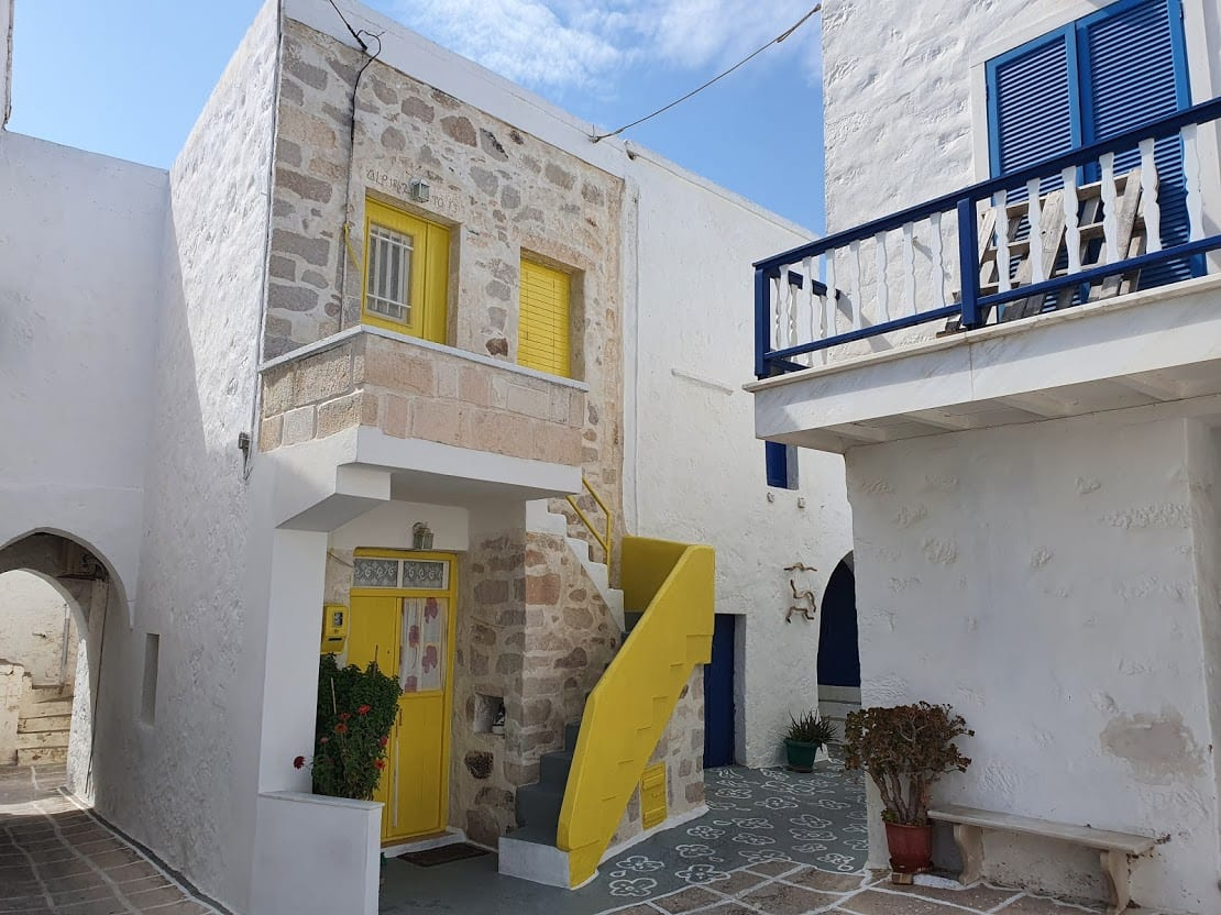 Colorful buildings inside the Chorio of Kimolos island