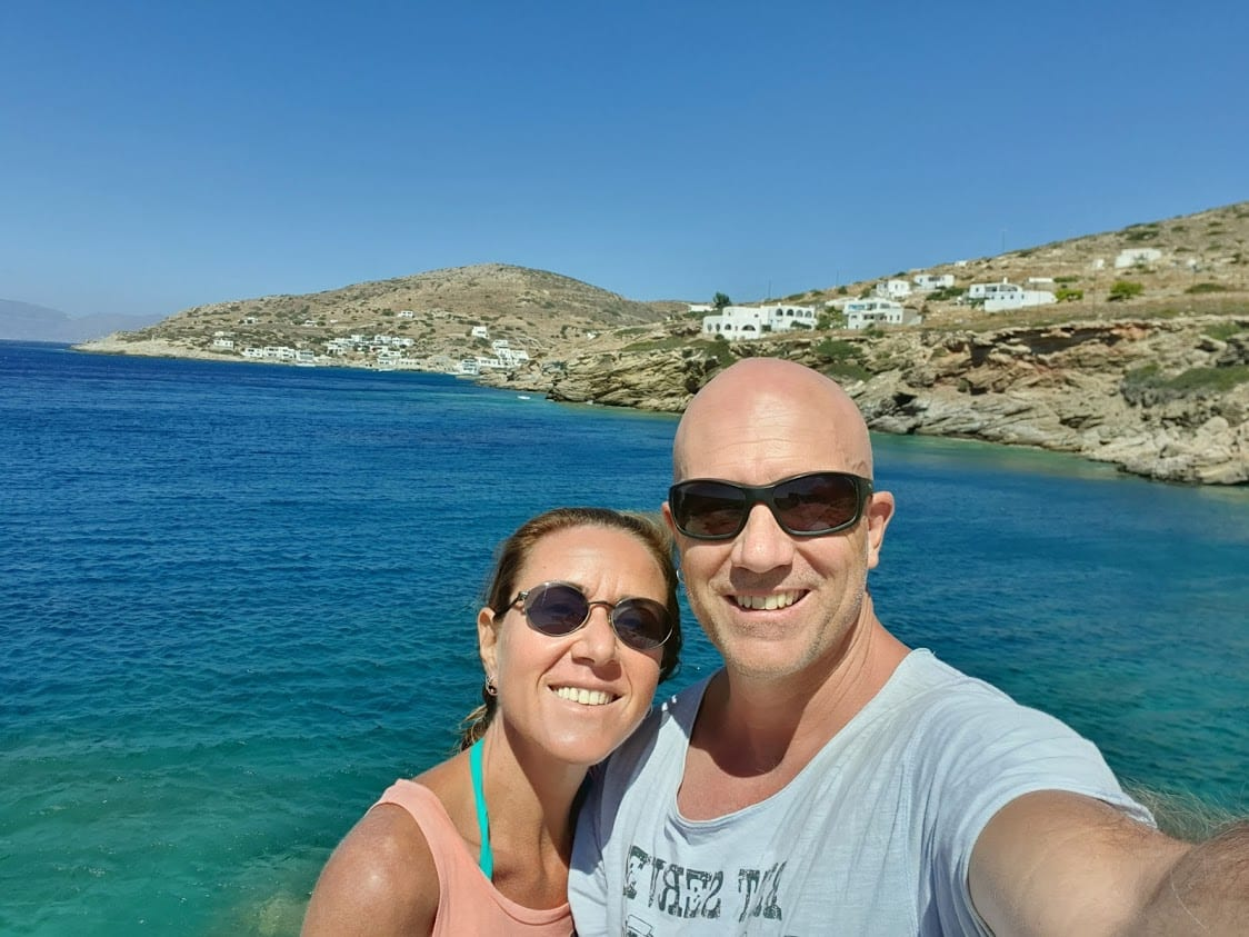 Dave and Vanessa from Dave's Travel Pages in Sikinos Island in Greece