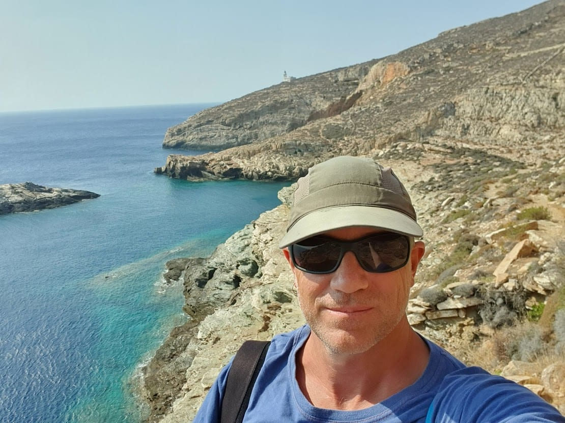 Dave hiking to Livadaki Beach in Folegandros