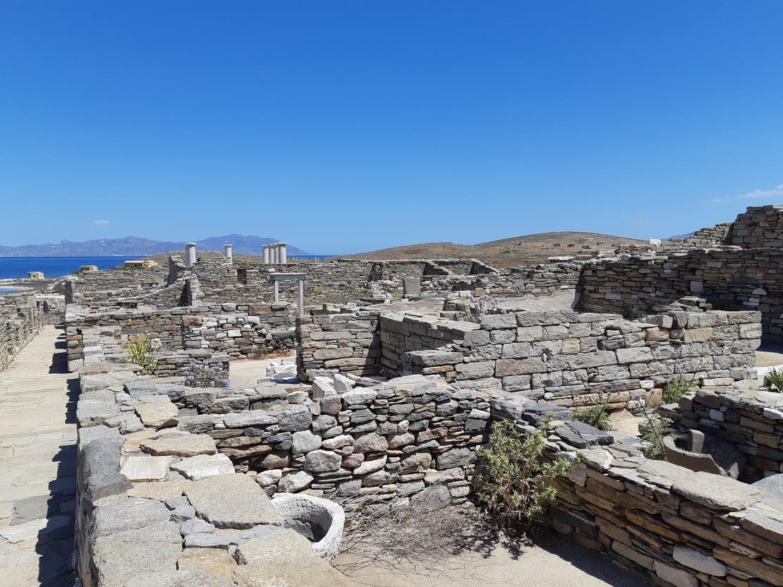 The Delos archaeological site in greece