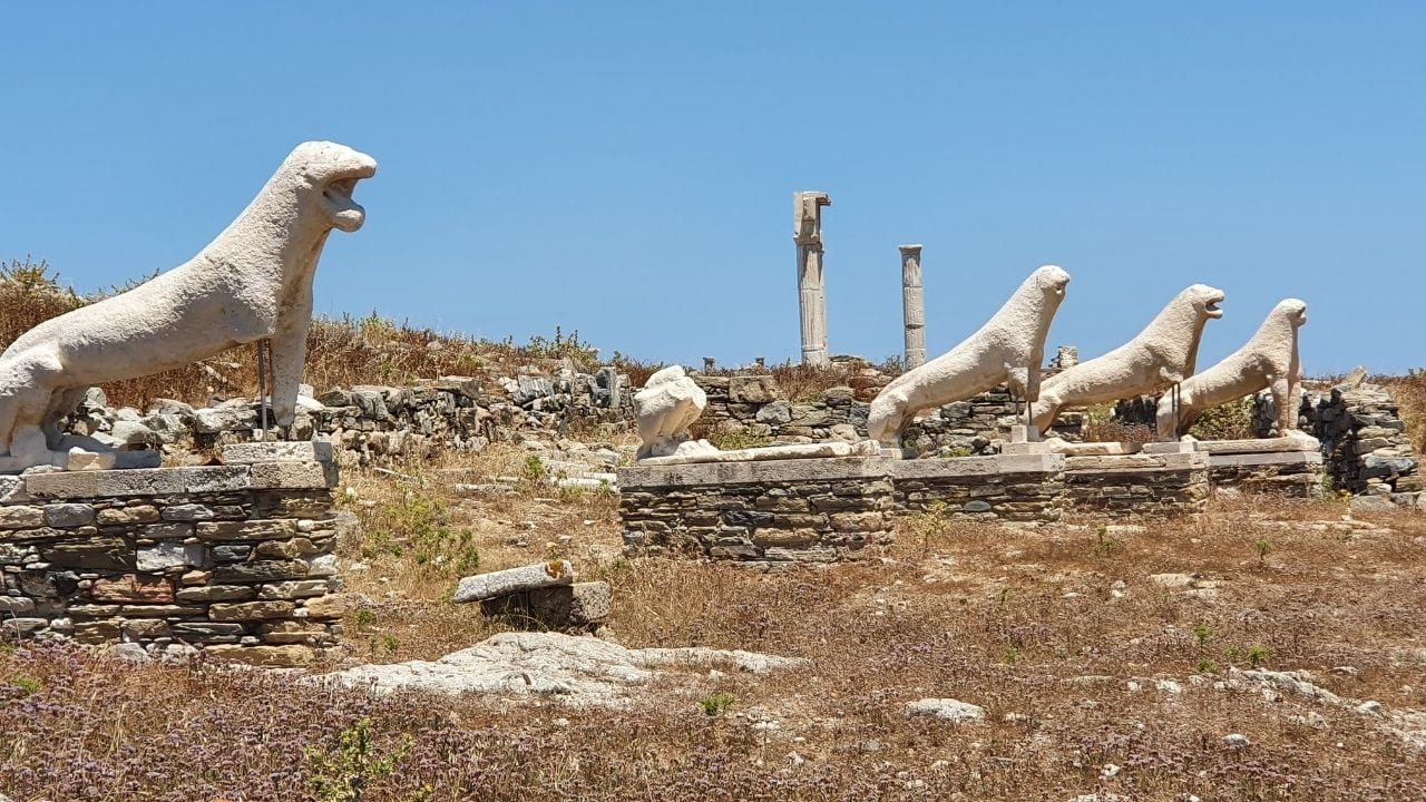 The lions of Delos island archaeological site are very important Greek monuments