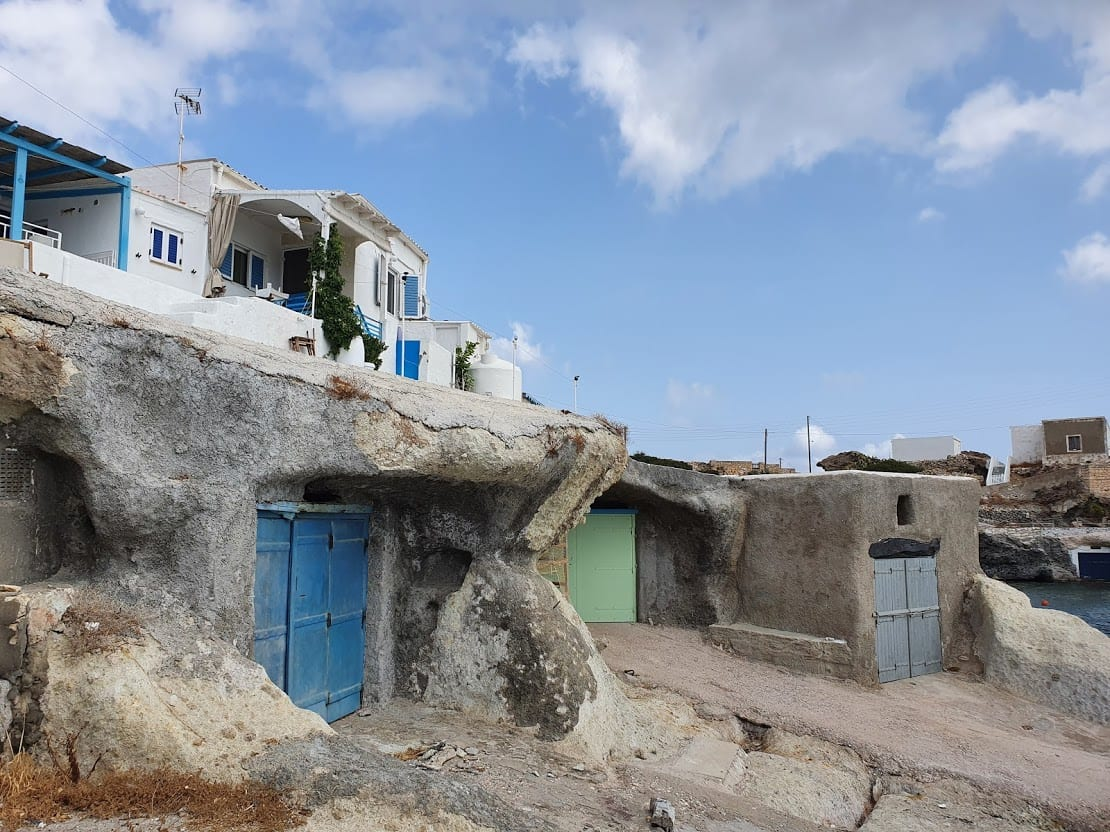 Fishing houses in Goupa on Kimolos Greece