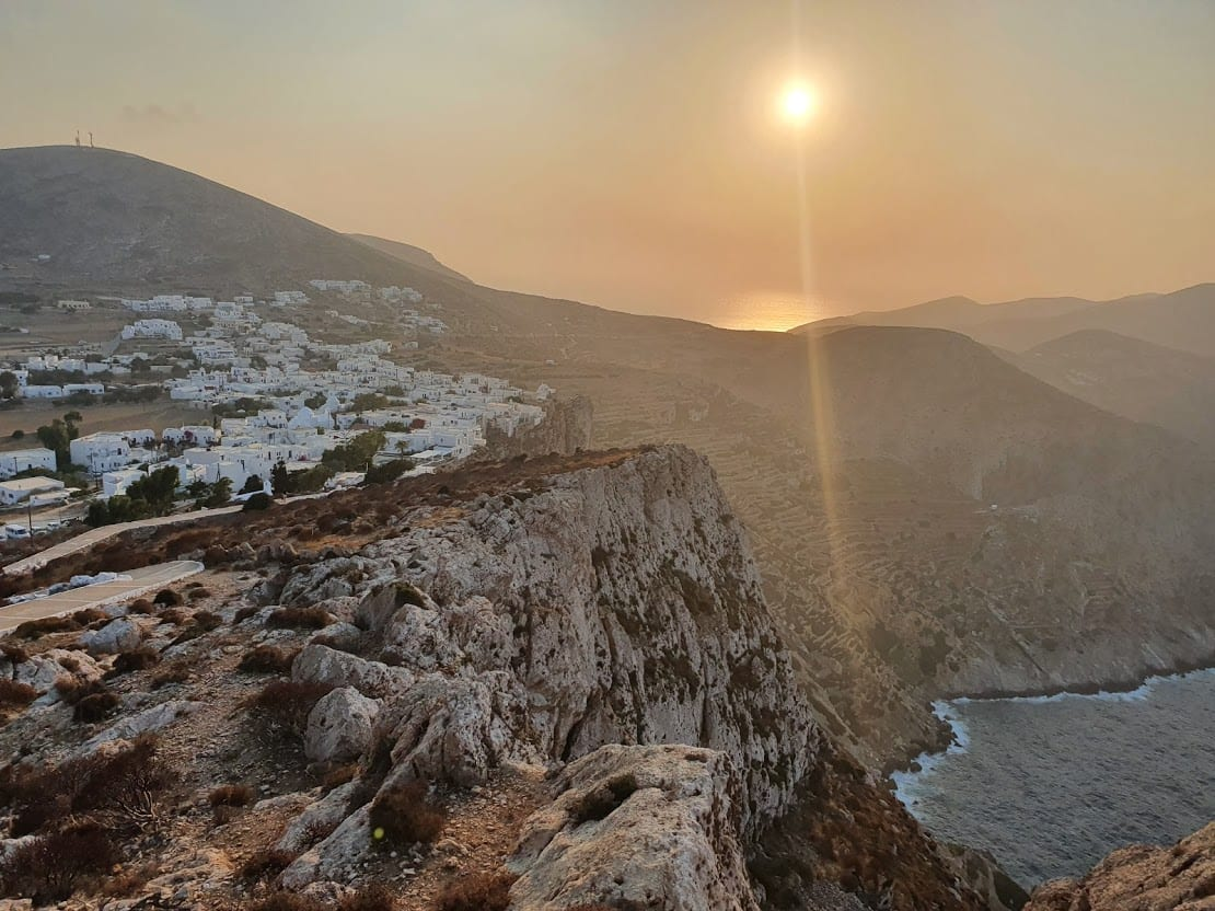 The sunset of Chora in Folegandros island in Greece