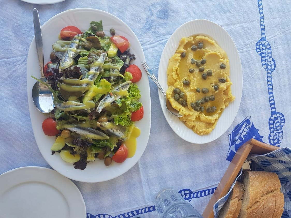 Enjoying Greek food in Milos