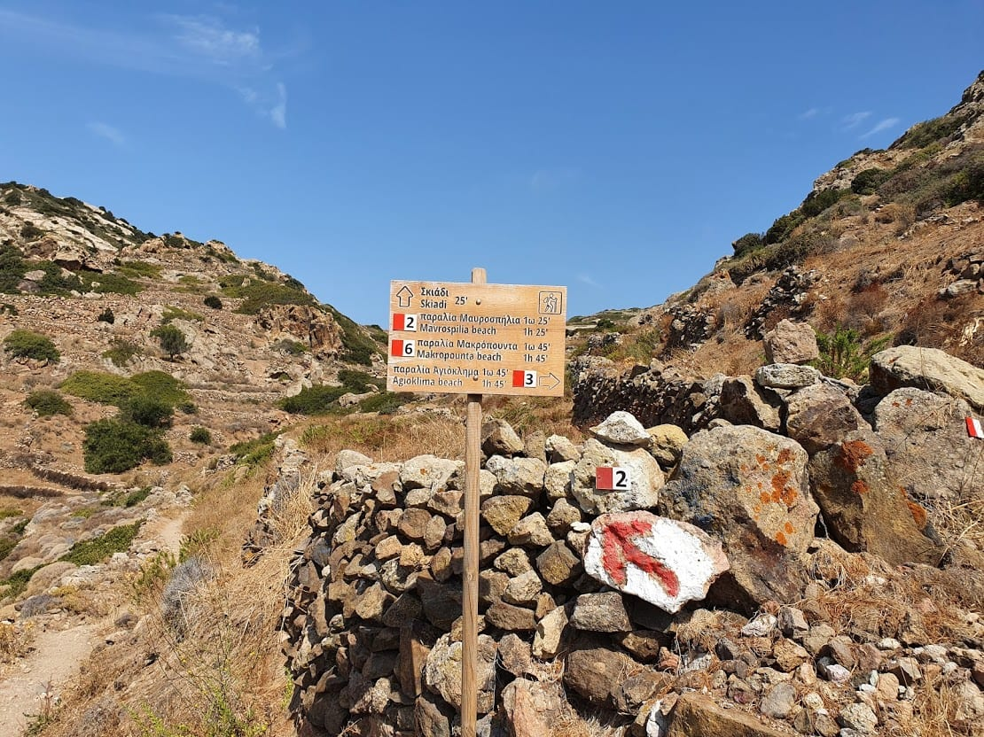 Hiking path to Skiadi rock in Kimolos island
