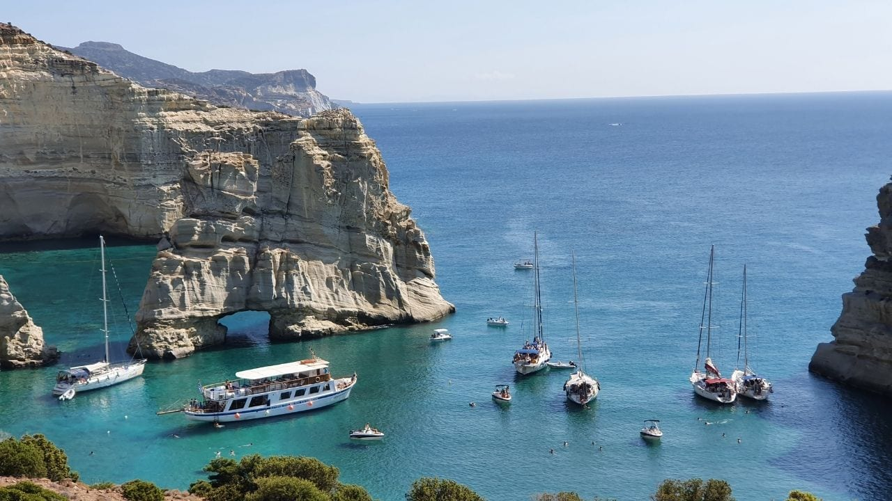 Kleftiko Bay in the the Cyclades island of Milos, Greece