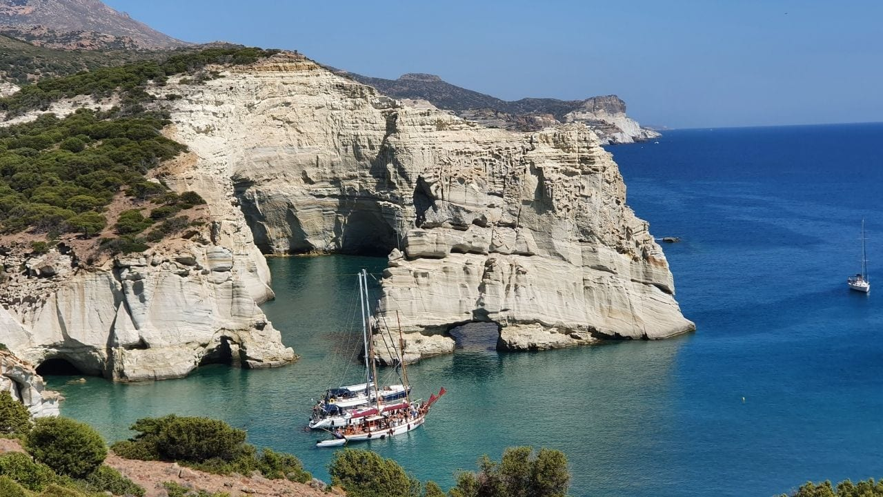 Kleftiko Beach in Milos island is becoming one of the most famous places in Greece to take a boat trip