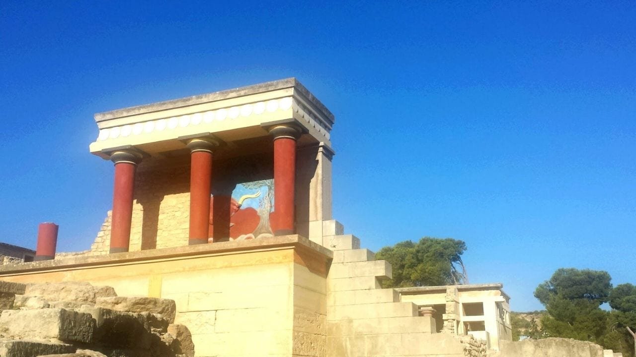 The Palace of Knossos in Crete is one of the most famous ancient Greek places