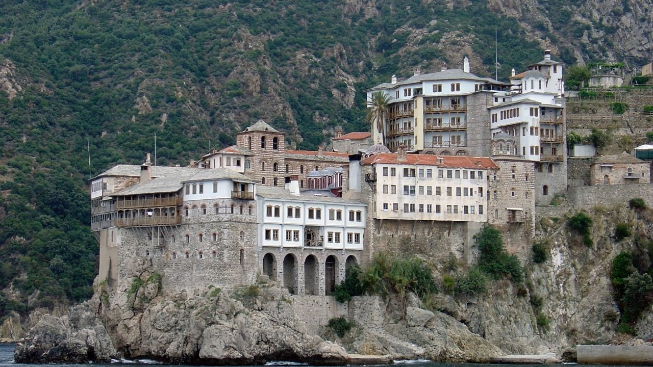 Famous Greek buildings - A monastery in Mount Athos