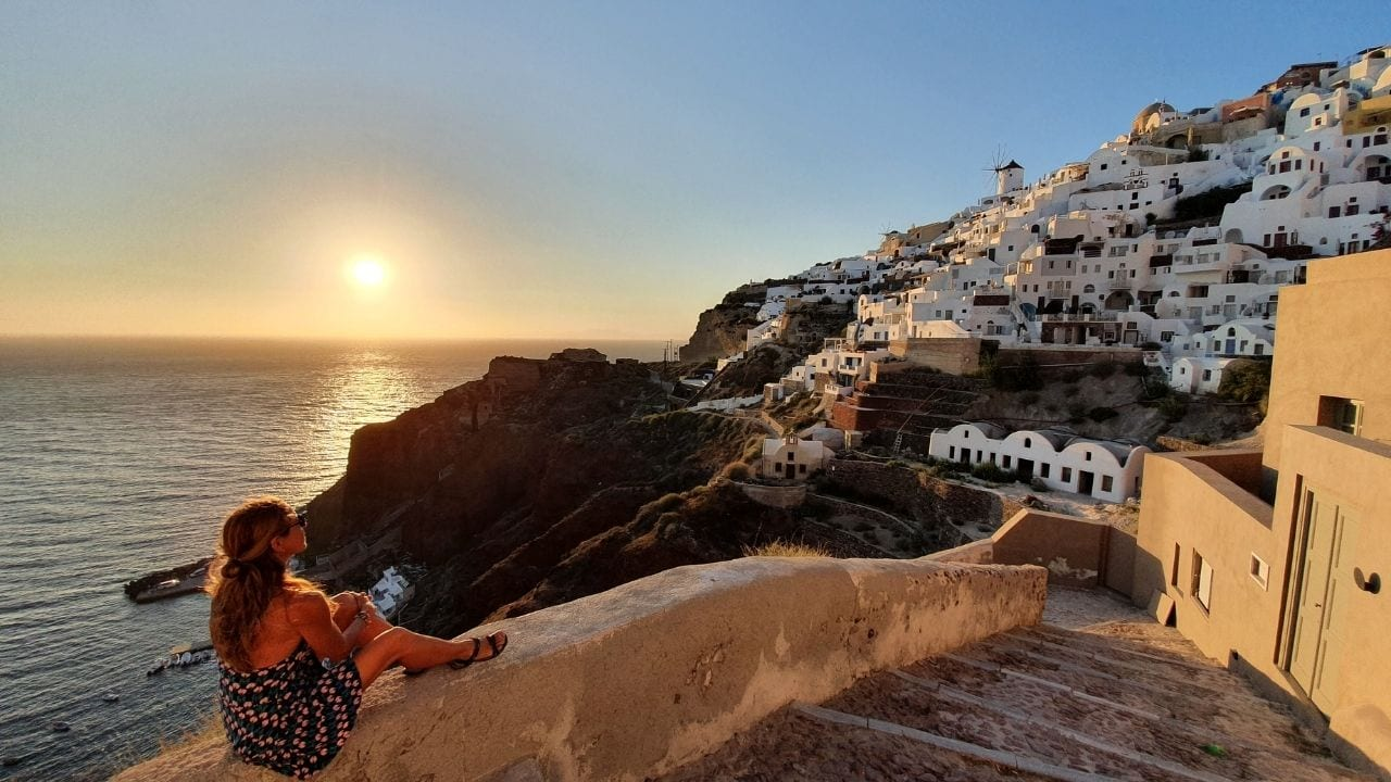 Oia in Santorini is one of the most famous locations in Greece to see the sunset