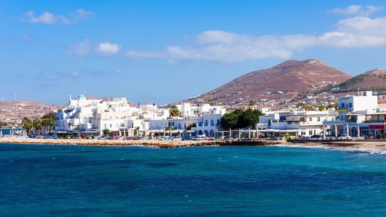 A view of Paros town across the sea