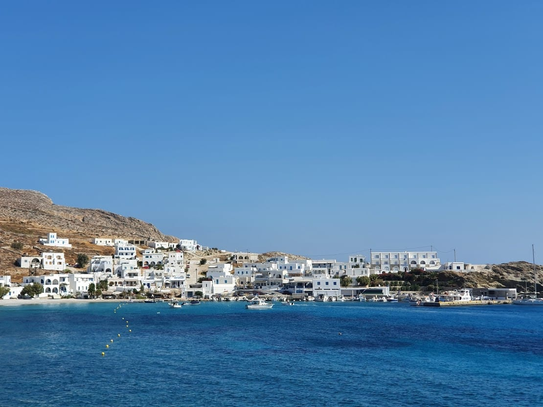 Arriving at the port in Folegandros island Greece