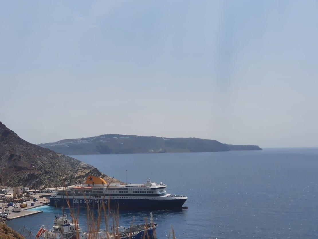 A ferry sitting in Santorini Port