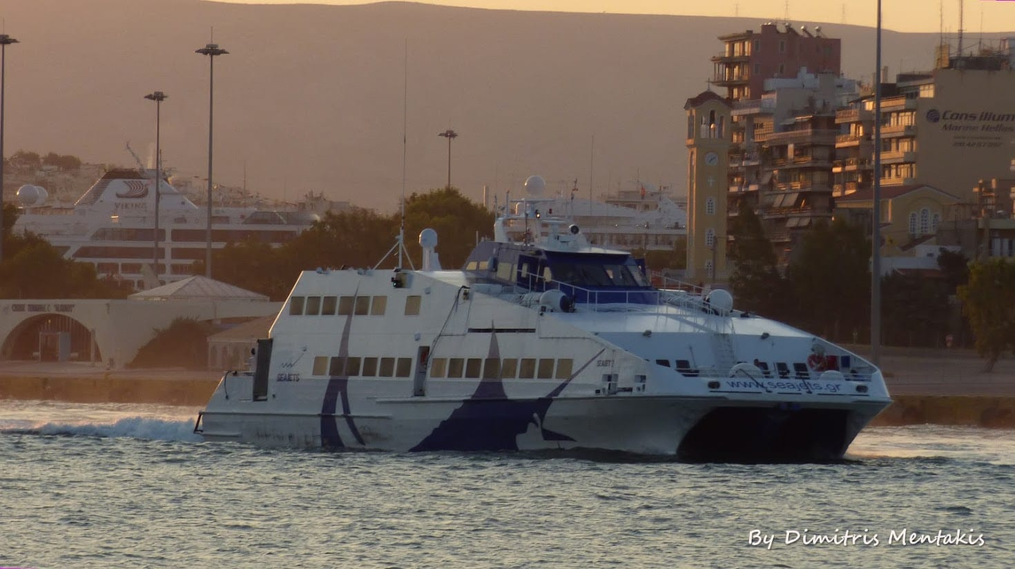 A photo of the Seajet 2 ferry in Greece that travels from Mykonos to Milos island