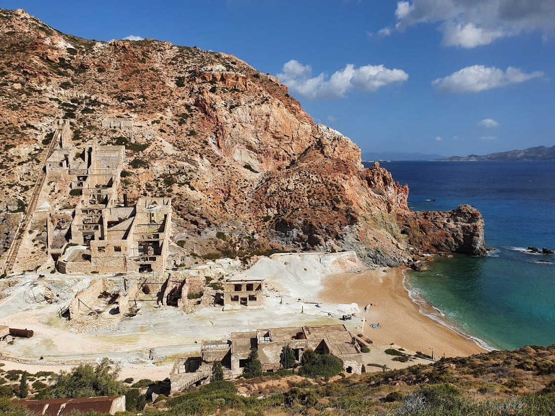 Visiting the sulphur mine beach n a tour of milos greece