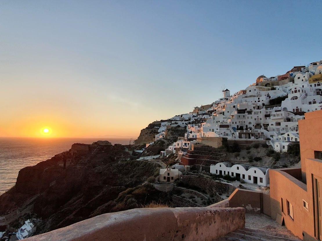 Enjoying the sunset at Oia in Santorini